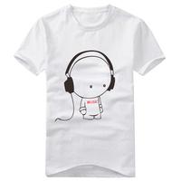 Wholesale 2013 Fashion Male Cartoon Earphones Mens Cotton Short-Sleeve T-Shirts Free Shipping