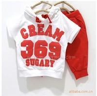 Children's summer clothing suit,Free shipping (5sets/lot) kids sport clothing sets,short sleeve tops+half pants 2pcs wholesale