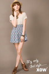 French a05 sea patchwork top body skirt(China (Mainland))