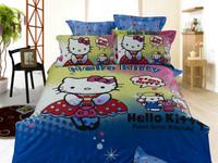 Hot Beautiful 100% Cotton 4pc Doona Duvet QUILT Cover Set bedding set Full / Queen/ King size 4pcs blue cartoon hello kitty
