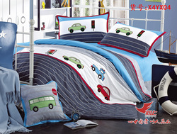 Cotton cartoon family of four cars cotton boys bedding(China (Mainland))