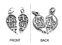 free ship 20pair a lot fashion alloy antique silver best friends charm pendants jewelry