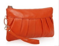 Free Shipping 2013 clutch genuine leather long design coin purse women's handbag women's day clutch bag 10 colours available