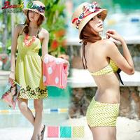 Free shipping Hot springs bikini swimwear piece set steel push up bikini 024