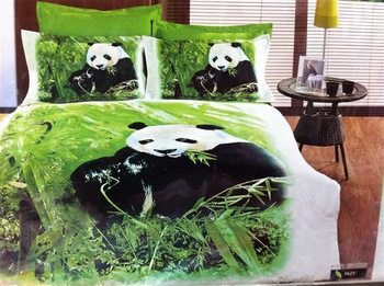 Hot Beautiful 100% Cotton 4pc Doona Duvet QUILT Cover Set bedding set Full / Queen/ King size 4pcs animal lovely green panda