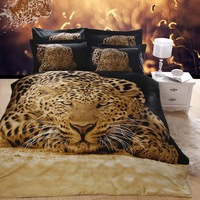 Hot Beautiful 100% Cotton 4pc Doona Duvet QUILT Cover Set bedding set Full / Queen/ King size 4pcs animal black leopard golden