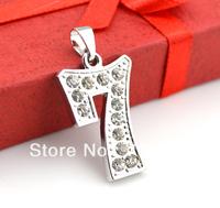 free shipping fashion  design number 7 with rhinestone digital jewelry pendant