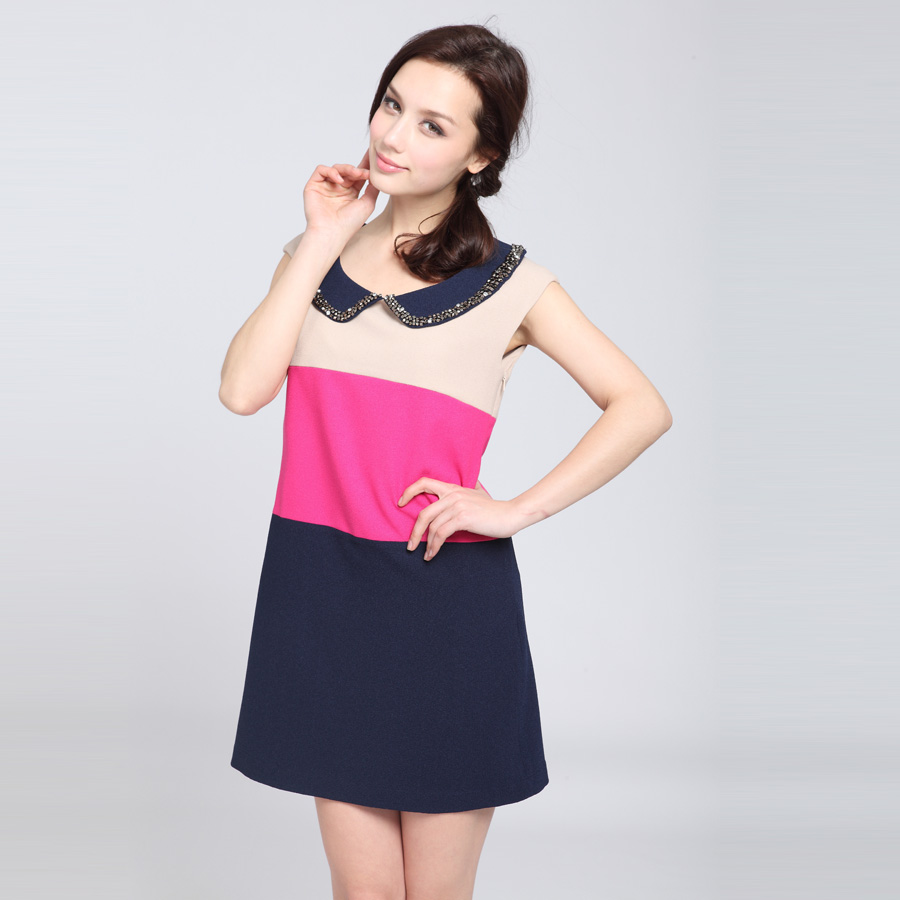 Julie 2013 spring women's stripe color block decoration peter pan collar loose one-piece dress x122218(China (Mainland))