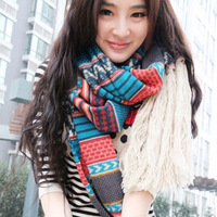 2 bohemia vintage tassel scarf national trend autumn and winter female ultra long ultra wide yarn cape muffler scarf