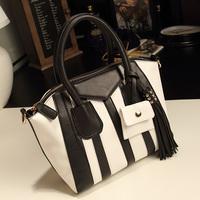 2014 women's handbag black and white stripe color block decoration color block button women's tassel handbag bag platinum