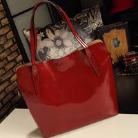 2013 one shoulder cross-body women's handbag fashion vintage color block women's handbag picture package Wine red bags