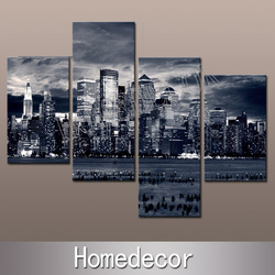 4pcs/set large USA New York City Buildings at Night Aechitechture art wall canvas painting prints on canvas Home Decoration(China (Mainland))