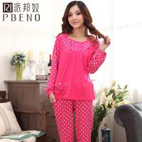2013 spring and autumn o-neck sleepwear lounge rose female 100% cotton long-sleeve set