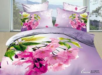 Hot Beautiful 100% Cotton 4pc Doona Duvet QUILT Cover Set bedding set Full / Queen/ King size 4pcs flower purple nice