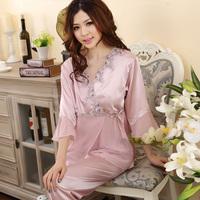 13 elegant sleepwear silk long-sleeve sleepwear twinset lounge spring and autumn silk at home