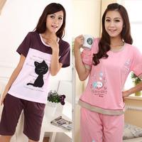 Limited edition sleepwear female cotton 100% at home service summer sleepwear women's short-sleeve cartoon lounge set