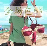 Straw braid rattan bag straw bag woven bag beach bag innumeracy