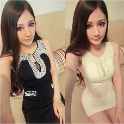 Free shipping Sexy women's handmade beading diamond V-neck slim hip bridesmaid dress one-piece dress nightclub dress(China (Mainland))