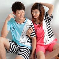 Sallei at home clothes summer stripe lovers sleepwear female summer cotton short-sleeve male lounge
