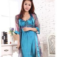 Silk sleepwear women's sexy nightgown twinset summer spaghetti strap robe temptation lounge set
