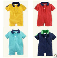 Retail  new 2014 baby boy short sleeve baby rompers clothing for newborns 4colors summer baby clothing set