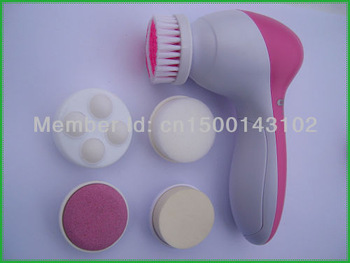 Free Shipping 5 in 1 Multifunction Electric Facial & Body Beauty Skin Massager & Cleanser Face Brush Spa Battery