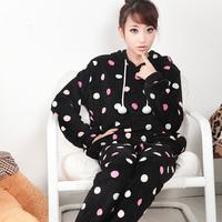 Hot-selling women's coral fleece sleepwear with a hood nightwear set lounge black dot pajama sets Free Shipping
