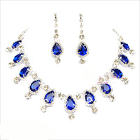 Free shipping blue color bridal jewelry sets hotsale necklace+earrings cheap jewelry wedding accessory
