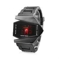 New Cool Black Stealth Aircraft Shape Sports LED Digital Date/Chronograph/Alarm Wrist Watch