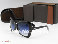 2013  hot sell sunglasses women brand design Cat's Eye glasses large frame with original box.,4 color# A2118 ,mix order