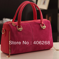 free shipping  high-class nubuck leather color block elegent ladies' handbag  chain straps shoulder bag  sling bag