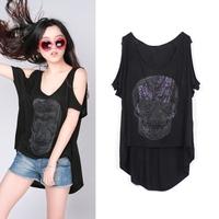 Mushroom fashion women's plus size loose short-sleeve T-shirt low-high strapless paillette skull t-shirt