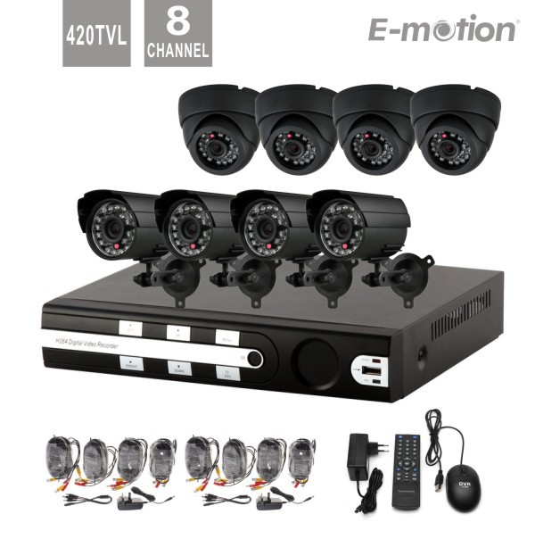 CCTV System 8ch DVR 4pcs Outdoor and 4pcs indoor 420tvl IR Cameras 8ch DVR Kit Security Camera System D1 DVR All Cable in(China (Mainland))