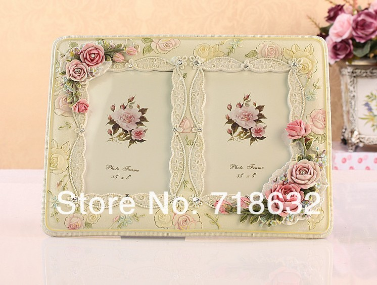 Free Shipping.,Korea pastoral photo frame, resin painting crafts frames, home decoration and gift ornaments(China (Mainland))