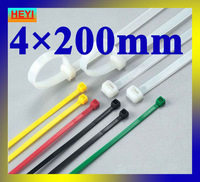 4mm*200mm velcro strap,marker strap,white color high quality 500pcs/lot nylon cable tie