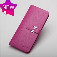 2013 New Arrivel!Ladies Brand Genuine Leather Wallet,women leather purse, top quality, fashion pink wallet,gift box H069-3