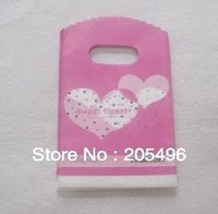 Free shipping 9*15cm Plastic shopping bags for small gift jewelry recycle pink color heart design printing wholesale 300pcs/lot