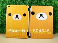 2 in 1 Bear Magnetic Stand Leather smart cover Case For Mini iPad Orange MN106
