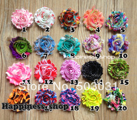 "Free Shipping 30pcs/lot  2.5"" Print Shabby Frayed Flowershabby frayed chiffon flowers,chiffon Rosette flowers"
