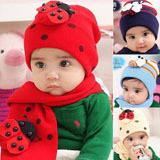 Free shipping  baby hat scarf twinset Cotton Beatles hat children hat+scarf Toddler animal BQ00011
