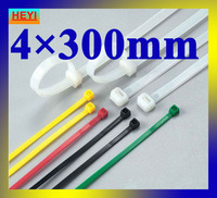 4mm*300mm velcro strap,marker strap,white color high quality 250pcs/lot nylon cable tie
