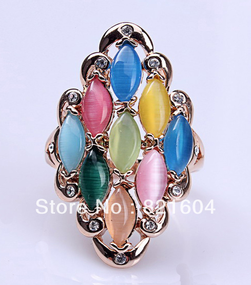Retail Hot Sales Fashion Colourfuol Rhinestone Gold Rings Jewelry Fit For All WNR088(China (Mainland))
