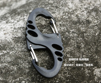S shape 8 shape hiking buckle quick release keychain hanging  Locking Carabiner Clip  black and tan color freeshipping