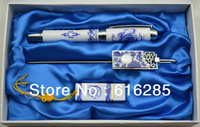 Hot-sale Business Gift Chinese style blue and white porcelain 3pcs set pen +bookmark+USB, promotional gift sets free shipping