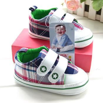 Single check baby boy spherule shoe infant shoes 7025