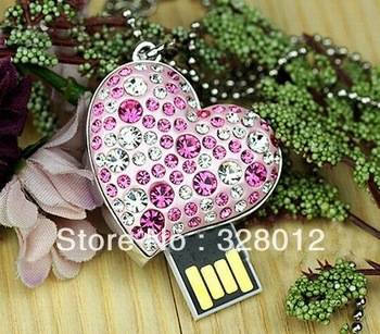 Newest Elegant Crystal Heart Necklace Design USB 2.0 Flash Drive Heart Gift Collection 8GB Free Shipping