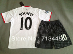 Soccer jerseys football uniforms England premier league united white #10 WAYNE ROONEY jersey shirt with short kits,Free shipping(China (Mainland))