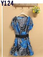 promotion,free shipping, blue color beach dresses,women summer dress, xxxl  large size T shirt,comfortable  KYD020
