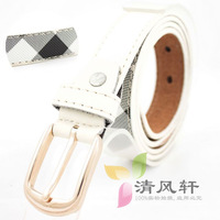 8 Obliquely 2013 check male pin buckle strap women's decoration belt PU belt white
