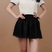 2013 summer female high waist pleated skirt lace skirt bust skirt puff skirt safety pants